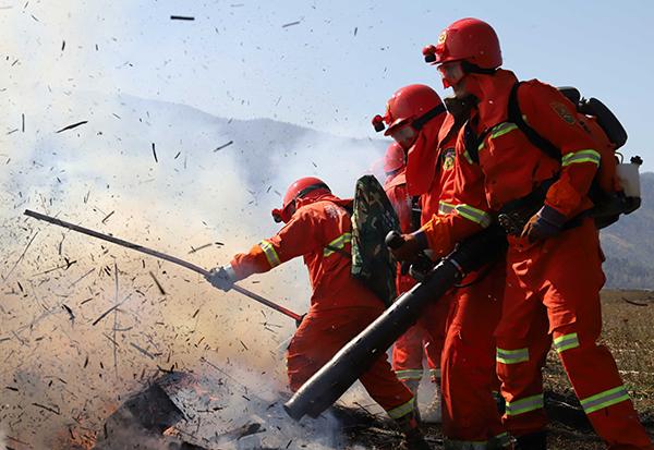 新疆阿勒泰森林草原空地联合灭火演练